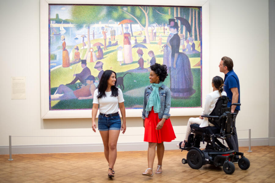 Friends admire art at the Art Institute of Chicago