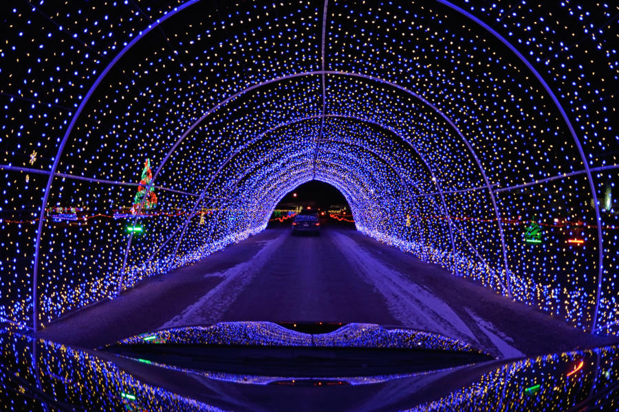 Driving through holiday lights