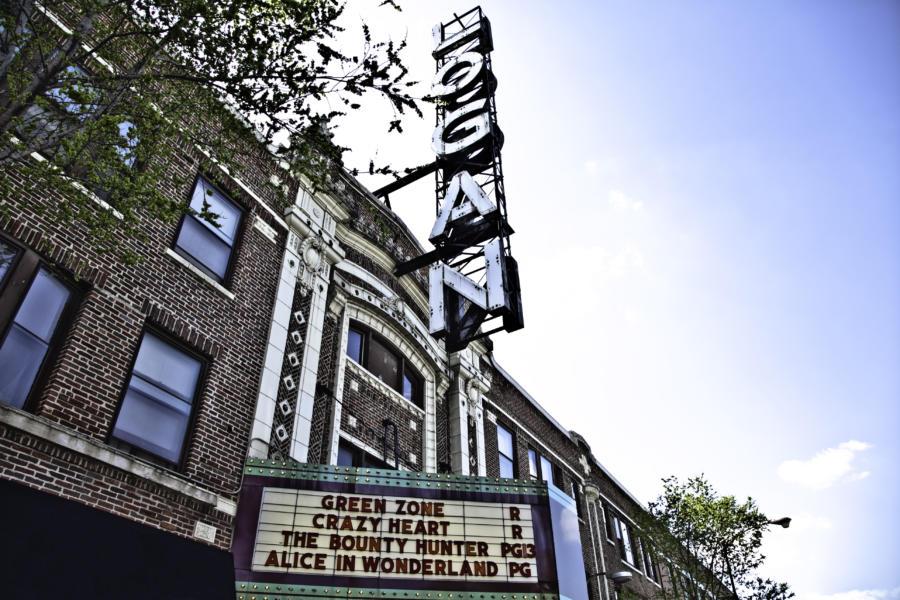 Logan Theatre marquee in Logan Square