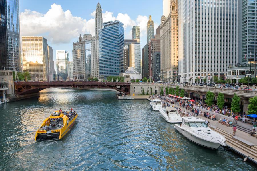 Boats docked along the Chicago Riverwalk
