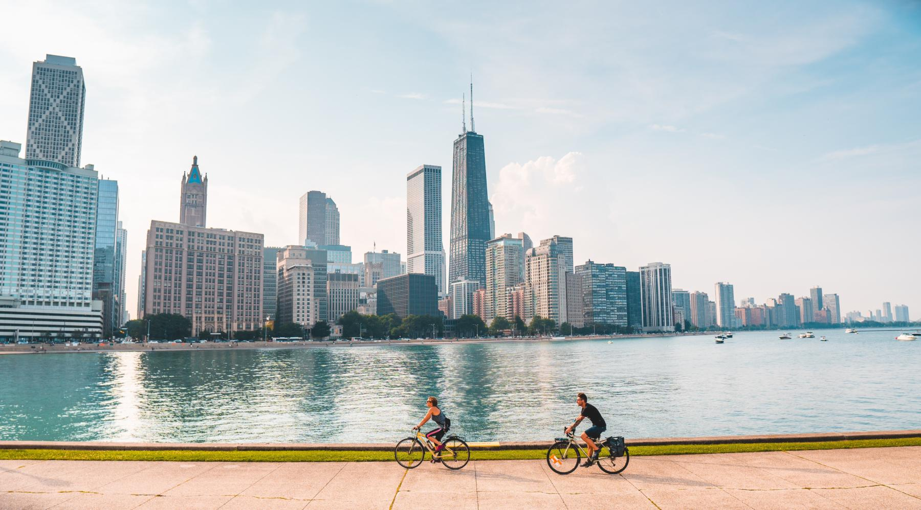 Two bikers on the Lakefront Trail in Chicago