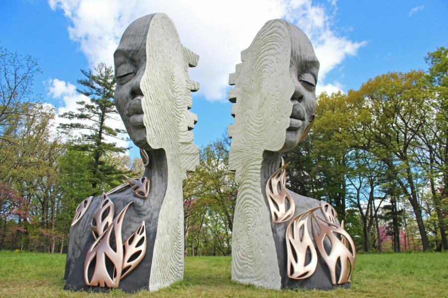 A sculpture at Human + Nature at Morton Arboretum