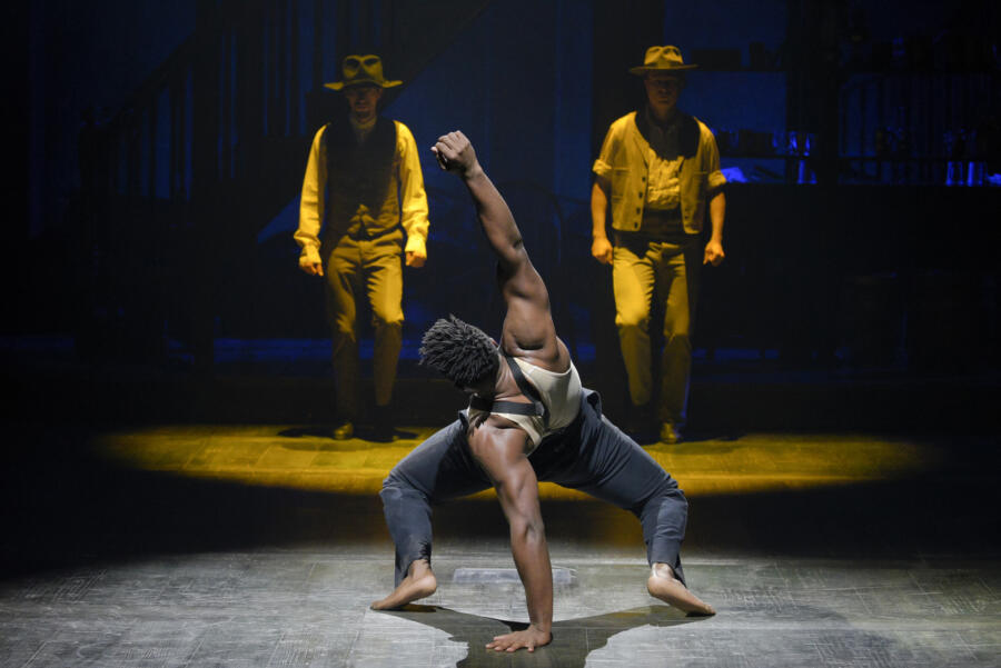 Jacobi Hall; Garrett Coleman and Jason Oremus in Paradise Square at Berkeley Repertory Theatre