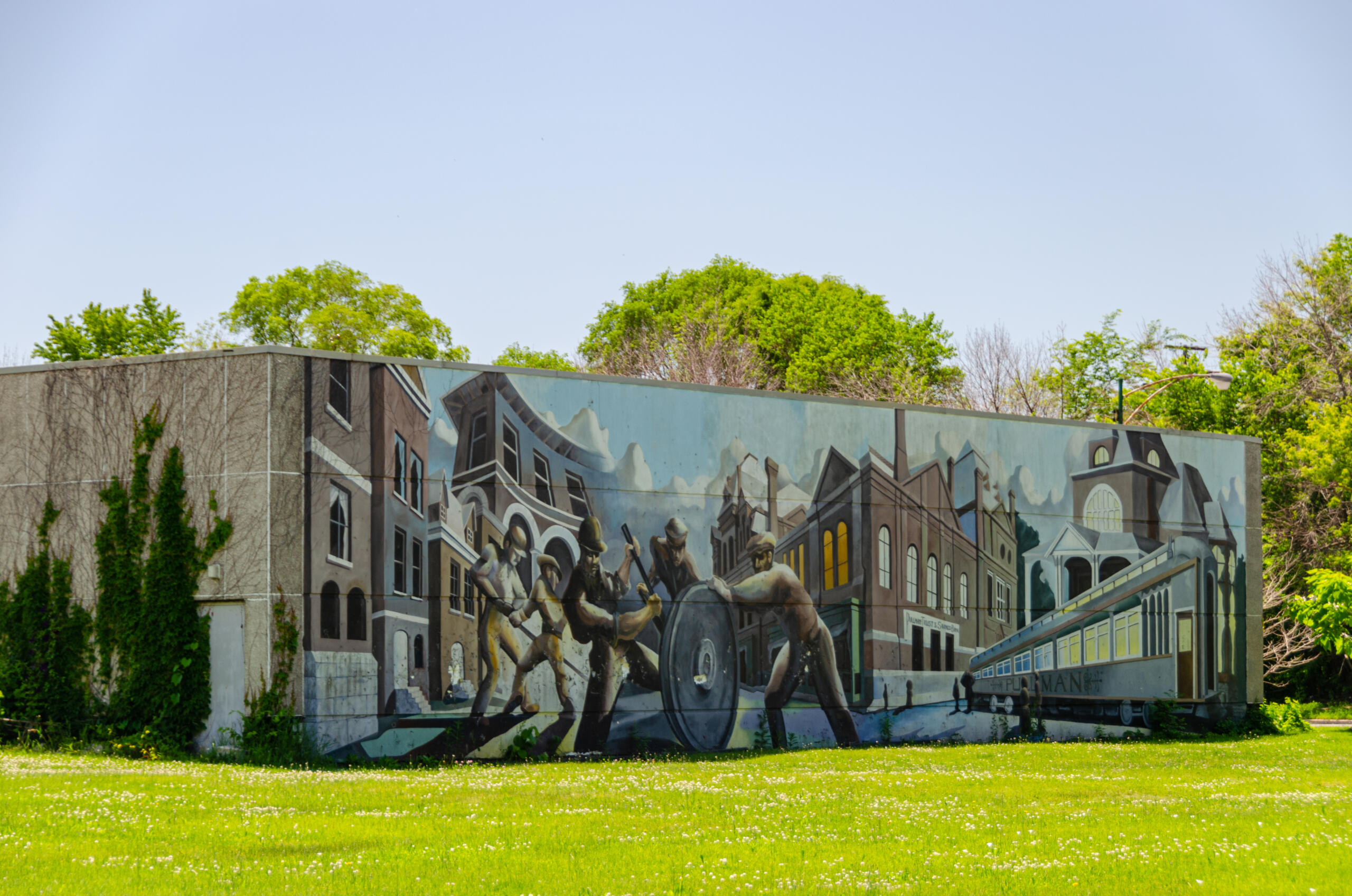 Pullman mural on Historic Pullman Foundation Pullman Exhibit Hall (Credit Historic Pullman Foundation_ Eric Allix Rogers)